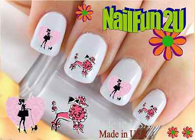 "RTG Set#144 DOG BREED ""Pink Poodle 2"" WaterSlide Decals Nail Art Transfers Salon"