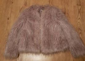 Grey faux fur coat size 10