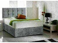 🔵💖🔴20% DISCOUNT FOR🔵💖🔴CRUSH VELVET DIVAN BED BASE SINGLE/DOUBLE/KING SIZE w MATTRESS OPT