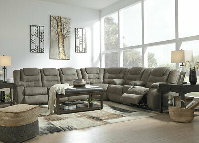 MANTARO Sectional Living Room Furniture Couch Set Gray Microfiber Reclining (Microfiber Reclining Sofa Sectional)