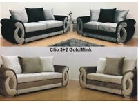 CLIO CRUSHED VELVET GOLD/MINK CORNER OR 3+2 SOFA | UK EXPRESS DELIVERY