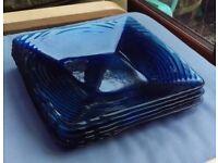 Set of 6 Blue Glass Square Plates 29cm