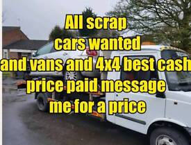 Scrap cars vans 4x4 mot failures non runner wanted cash paid
