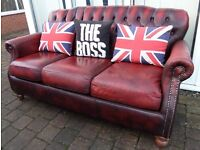 Chesterfield High Back Thomas Lloyd 3 Seater Sofa Oxblood Red UK Delivery