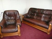 3 seater brown leather sofa / settee and chair with solid wood QUICK sale price