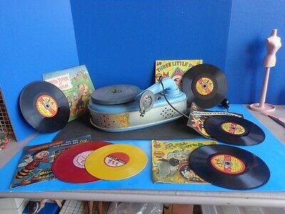 VINTAGE CHILDREN PHONOGRAPH- RECORD PLAYER AND RECORDS- 1950s WORKS