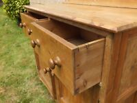 Early Victorian Rustic Pine Housekeepers Kitchen Cupboard Dresser Base