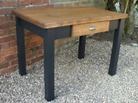 Rustic Country Pine Shabby Chic kitchen Dining Table With Large Drawer