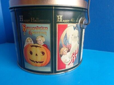 POPCORN TIN CAN WITH VINTAGE HOLIDAY  POST CARD LITHOGRAPHS