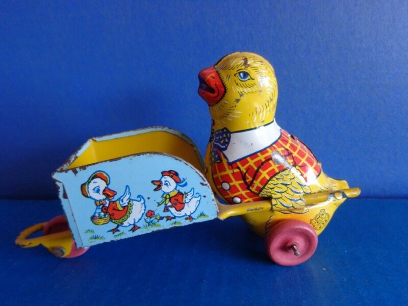 VINTAGE J CHEIN TIN LITHOGRAPH EASTER CHICK PUSHING CART
