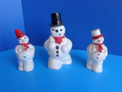 3 VINTAGE HARD PLASTIC XMAS SNOWMEN CANDY CONTAINERS- MID CENTURY RETRO