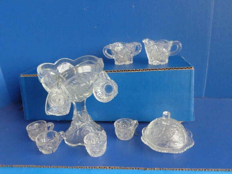 VINTAGE CHILD PRESSED GLASS PUNCH BOWL, CUPS, CREAMER, SUGAR, COVERED BUTTER-