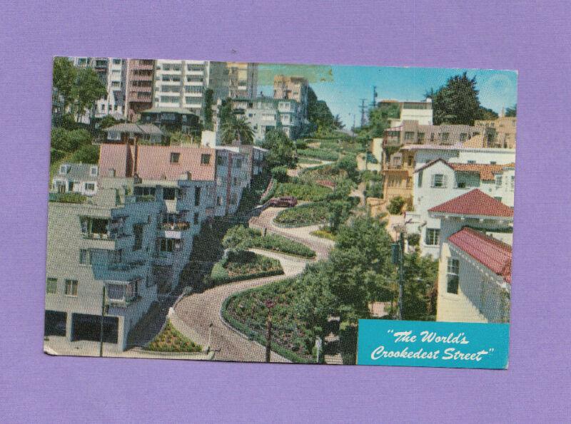 World's Crookedest Street Lombard San Francisco California 1962 Photo Postcard