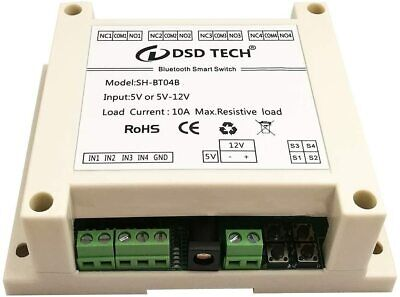 Dsd Tech Sh-bt04b 4 Channel Bluetooth Relay V2 Support Timer And Security Code
