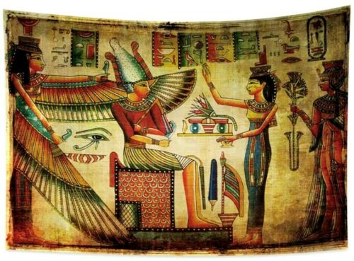 33 x 27 Egyptian Tapestry Ancient Egypt Mural Tapestry Hieroglyphs Antique Relic