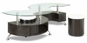 """Stylish and modern Black """"S"""" Shaped Coffee Table w/ 2 Ottomans"""