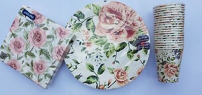 Floral Vintage Elegant Wed Party/Tea/Summer  Paper Cups,Paper Plates and Napkins (Wedding Plates Cups And Napkins)