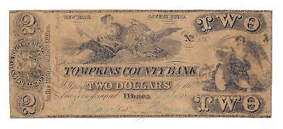 1848 The Tompkins County Bank  Ithaca  Ny    2 Contemporary Ctft Note No 1033