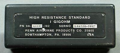 1 Gigohm Penn Airborne High Resistance Standard Resistor Tested Good Vgc