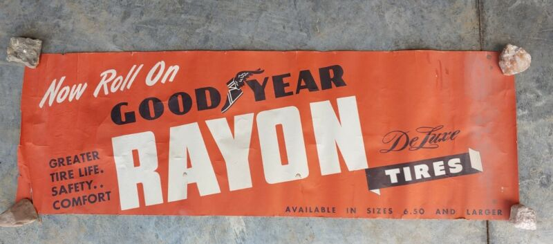 Vintage Goodyear Rayon Tires Dealer Poster Banner Sign Gas Oil Service Tire