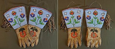 Fine 1900 Native American Yakama, Umatilla, Nez Perce Beaded Gauntlet Gloves