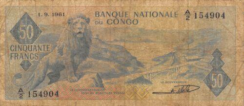 Congo  50  Francs  1.9.1961  P 5a  Series  A/2   Circulated Banknote