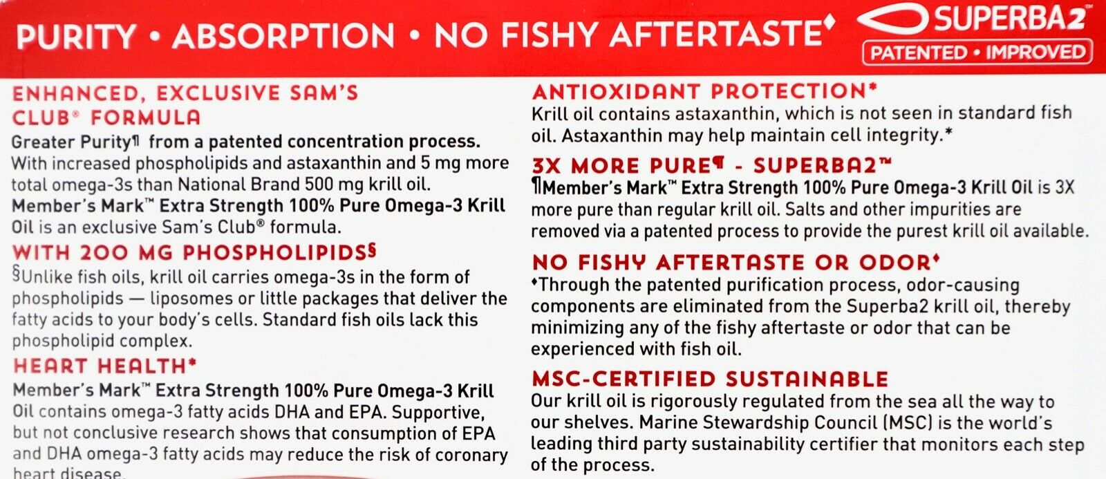 Member's Mark Extra-Strength 100% Pure Omega-3 Krill Oil 500mg Softgels 1