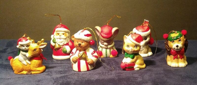 VINTAGE CHRISTMAS ORNAMENT BELL LOT MINIATURE FIGURINES JAPAN See pictures!