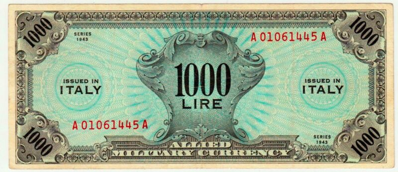 ITALY 1000 LIRE 1943 ALLIED MILITARY PAYMENT WORLD WAR II  RARE