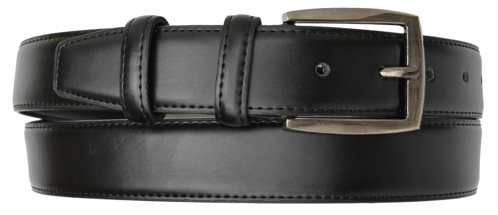 Mens Casual Black Dress Leather Belt w Buckle New