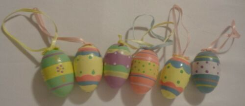 """WOODEN WOOD HAND PAINTED EASTER EGG ORNAMENT LOT 6 2"""" SPRING HOLIDAY DECOR"""
