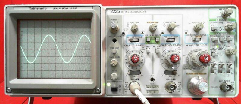 Tektronix 2235 AN/USM-488 100 MHz Oscilloscope SN:B082650
