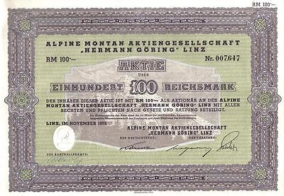 Germany Bond 1939 Herman Goring Alpine Montain 100 RM