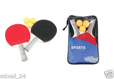 Tischtennis 5er Set 2 Tischtennisschläger 3 Tischtennisbälle mit Tasche Beginner