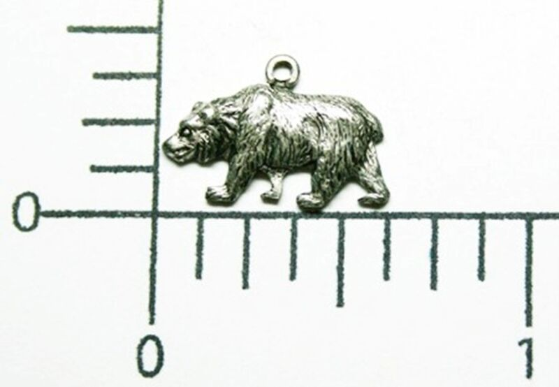 43644        3 Pc. Matte Silver Oxidized Small Bear Charm Jewelry Finding