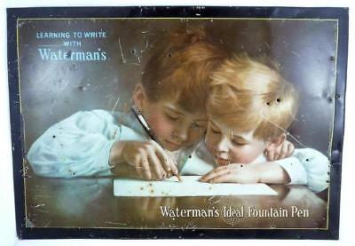 1930's  WATERMAN IDEAL Fountain PEN Tin Litho Store Counter Display SIGN .. rare