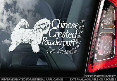 Chinese Crested Powderpuff - Car Window Sticker - Dog Sign -V01