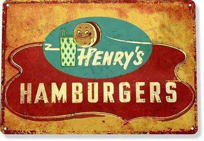 Restaurant Decor - Henry's Hamburger Diner Restaurant Retro Rustic Metal Decor Tin Sign