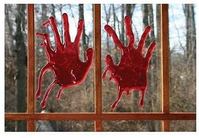 2 PAIR OF REALISTIC 3D BLOODY HAND PRINTS creepy Halloween prop fake blood joke - Realistic Fake Hand