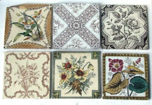 "Collection of 6 Original 6"" x 6"" Antique Victorian Floral Printed Tiles"