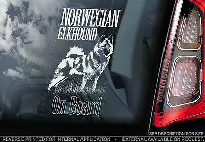 Norwegian Elkhound - Car Window Sticker - Dog Sign -V01