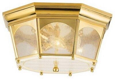 Kichler Outdoor Ceiling Light - KICHLER INDOOR/OUTDOOR POLISHED BRASS 3 LIGHT FLUSH CEILING