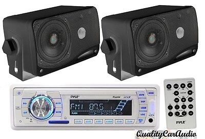 NEW Pyle Marine AM/FM USB/SD iPod AUX Receiver Stereo + 2 x 3.5