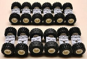 NEW-Lego-Wheels-Vehicle-Parts-Car-Truck-Tire-Rim-Sets-w-AXLES-city-town