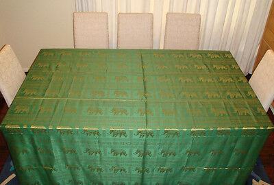 100% Thai Silk Tablecloth Elephant Design 200x250cm Many Colours Available