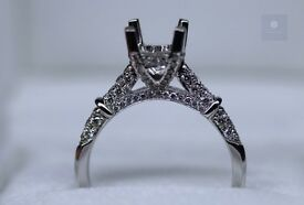 New 18ct White Gold Diamond Ring Mount - Free sizing and setting