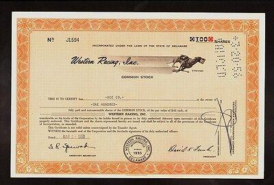 GREYHOUND DOG RACING : WESTERN RACING INC old stock certificate 1950s