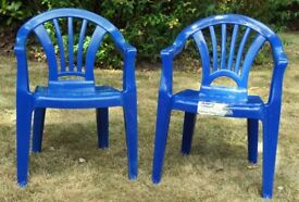 2 Blue Plastic Chairs for Children