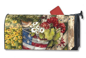 PATRIOTIC PAIL SPRING SUMMER FLOWERS & BIRD MAGNETIC MAILBOX COVER & 1