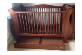 Tutti Bambini Sleigh Cot bed in Walnut finish with mattress RRP £399